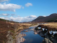 Glen Feshie (RoystonVasey) Tags: park winter cloud mountain snow mountains river landscape scotland spring fuji heather glen pole national finepix telegraph cairngorms f440 cnp feshie