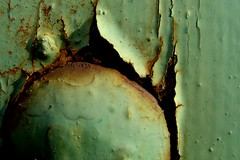 Rivet (Auntie P) Tags: abstract macro green rust peeling paint decay rivet challengeyouwinner mydoors diamondclassphotographer creativecomments thechallengefactory auntiepexplored partcircle