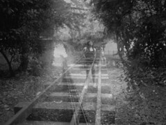 Double exposure tracks. Clearing in the forest. (horriblecherry) Tags: white black girl forest train dark alone doubleexposure traintracks