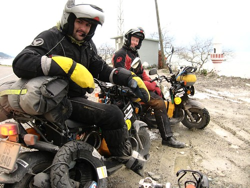 Three Norwiegans riding around the world on scooters (met near Inebolu, Black Sea coast of Turkey)