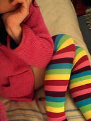 365 - Day 62 (Vickykc) Tags: pink selfportrait color colour socks fun rainbow bright jumper cheerful striped stripy woolly kneehigh snuggy 365days warmatlast vickykclostinthought vickykcphotobacklog