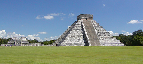Panorama of El Castillo and Temple of the Warrior in Chichen Itza World Heritage Site, Yucatan