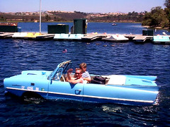 San Diego Carpool on Lake Miramar in an Amphicar (oybay) Tags: water car boat classiccar automobile sandiego floats germanengineering amphicar donottrythisathome lakemiramar