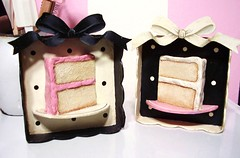 paper mache cake slice shadow boxes (holiday_jenny) Tags: pink white black cake sweet handmade mixedmedia craft shadowbox papiermache papermache