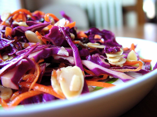 Purple Cabbage Salad with Carrots, Almonds and Currents