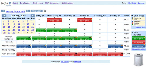 date picker screenshot of rotaboard