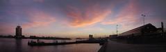 IJ at sunrise, east (Roloff) Tags: panorama amsterdam sunrise geotagged boot dawn pier boat ship calico cs centraalstation ij tij pta muziekgebouw amsterdamnoord connexxion shelltoren overhoeks