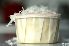 Alfajore Cupcake or Peruvian Caramel Filled Lemon Cupcake with Raspberry Buttercream and Coconut