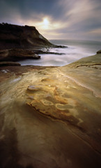Cape Kiwanda, 90 seconds (Zeb Andrews) Tags: ocean longexposure film oregon landscapes seascapes unitedstates pinhole pacificocean pacificnorthwest northamerica zeroimage kodak100uc zero69 bluemooncamera zebandrews zebandrewsphotography