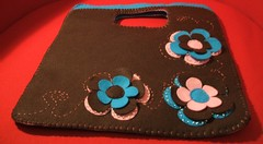 Finally ready! (Kooka_) Tags: pink flowers blue brown flower bag handmade craft felt feltro handbag handcraft kooka kookalicious