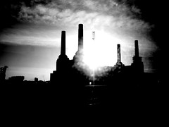 Battersea Power Station #3 (GatheringZero) Tags: blackandwhite bw reflection london silhouette glare batterseapowerstation geoffsbirthdaybonanza