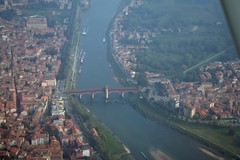 Pavia (_ Night Flier _) Tags: above city travel bridge blue sky italy panorama rooftop nature water river airplane landscape town flying ticino high holidays view earth top aviation urlaub aerial h2o fromabove pont lombardia cessna vacanze pontevecchio italians skyview lombardy pavia birdeye aeronautic