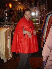 vintage red leather poncho with buckles (Opal in the rough) Tags: red me leather vintage clothing mel ugly opal poncho yellowjacket redcoat redjacket opalintherough