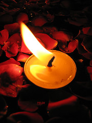 Candle in the wind (Felix Francis) Tags: reflection rose candle romantic rosewater