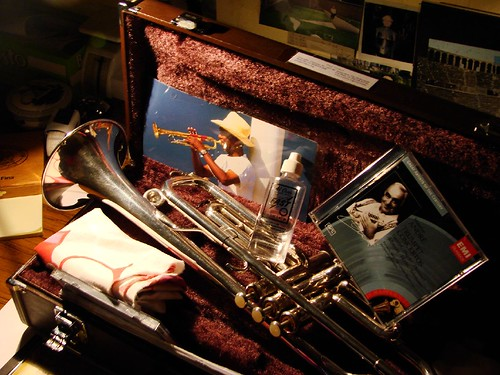 still life with trumpet and cd of maurice andre