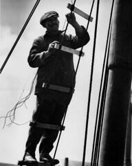 Lashing on new ratlines in the rigging (John Collier Jr.) Tags: collier johncollierjr blackandwhite bw historic forties 40s 1940s wwii ww2 worldwarii worldwar2 classic professional waryears homefront america americana owi fsa officeofwarinformation farmsecurityadministration newdeal documentary roosevelt civildefense propaganda maxwell history anthropology film museum photographer wartime archival archives unitedstates usa us patriotic patriotism vintage largeformat work