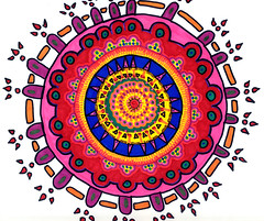 "010607 Prismacolor Meditation Mandala (Stephanie ""Biffybeans"" Smith) Tags: art pen ink paper sketch energy artist emotion drawing spirit geometry release creative mandala anger doodle canson sacred marker balance meditation draw radiate spiritual prismacolor healing stress chakra lineart grounding amotional biffybeans"