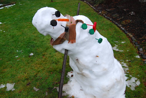 Snowman, hung over on New Year's Day