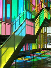 Palais des congrs de Montral (cocolinda) Tags: city pink blue light summer orange reflection green love home glass yellow architecture stairs spring colours shadows heart bright montreal may oldmontreal colourful railing favourite palaisdescongres jaimemontreal