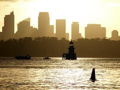 Channel marker (zoom_eric) Tags: light water skyline sepia evening harbour sydney australia navigation sydneyharbour channelmarker