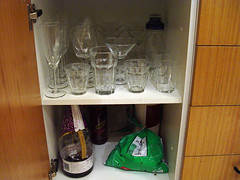 dee's kitchen: Stemware, Hardy Liqour and Cordial Stash (plus stray bag of potatoes).
