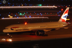 British Airways 772 (N77022) Tags: usa night plane airplane lights george airport bush texas aircraft aviation houston aeroplane 200 british boeing airways 777 nite intercontinental 772