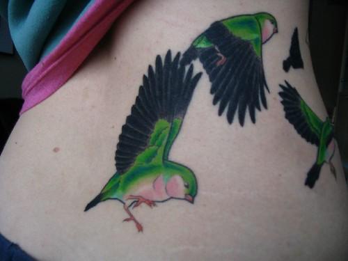 Women with Bird tattoo colour back dark