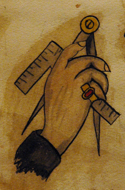 Closeup of Masonic tattoo flash from the 19th century.