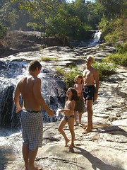 Chad, Anna, Caleb and Dave at waterfall in Chiang Mai