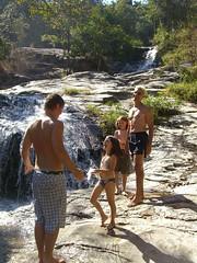 Chad, Anna, Caleb and Dave at waterfall in Chiang Mai