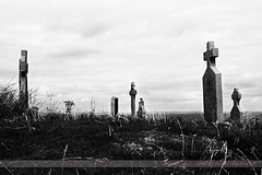 Cemetery, Inisheer, Aran Islands (Seven Seconds Before Sunrise) Tags: travel ireland bw galway cemetery graveyard clouds landscape europe tombstone eire inisheer aran aranislands