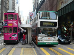Hong Kong () - Public Transport () - Des Voeux Road Central () - Tram and Bus (Michael Hansen's Hikes) Tags: bus cars buses hongkong mercedes michael transport tram hong kong publictransport  kowloon hansen  doubledecker newterritories cityliving  firstbus desvoeuxroadcentral  nwfb  michaelhansen
