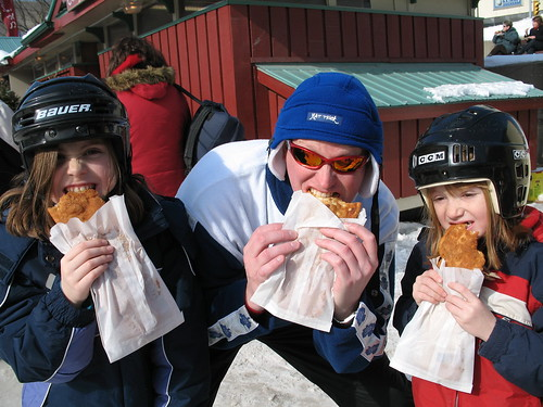 Twig and the kids eating Beaver Tails