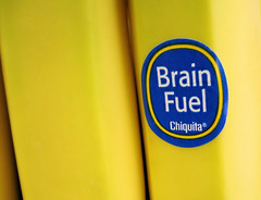 Brain Fuel (Bob.Fornal) Tags: blue food yellow sticker brain banana fuel