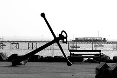 Anchor (*ian*) Tags: blackandwhite bw tag3 taggedout marina train pier blog tag2 tag1 hampshire solent anchor favourite hythe bigemrg feb2007blog