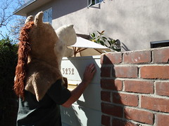 The Horsehead wants to play. (.Hollie.) Tags: horse la losangeles head mascot visits the