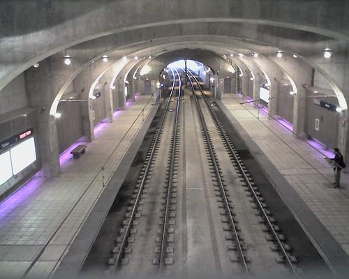 Looking down at the Skinker Metrolink station