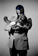 Blue Demon and His Cat (Mark Klotz) Tags: blackandwhite cats canada halloween sarah kitten bc mask masks bluedemon markklotz meandmykitty bluedemonandhiscat