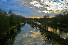 Traun river (ecker) Tags: sky reflection water clouds wow reflections river linz austria evening abend wasser cloudy himmel wolken fluss spiegelung traun blueribbonwinner bewlkt nikonstunninggallery