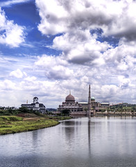The Mosque and Silo of Putrajaya (Stuck in Customs) Tags: city houses sky reflection tower water clouds buildings river photography nikon peace photographer god islam mosque silo malaysia kualalumpur putrajaya hdr salam borders allah islamicarchitecture highquality stuckincustoms treyratcliff