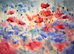 Ballet of Bloom (katekos) Tags: watercolor watercolour akwarela art katekos painting aquarelle flowers floral floralwatercolor kwiaty meadow poppies poppy red blue redandblue cornflowers