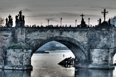 Charles Bridge, Prague (Stevacek) Tags: silhouette river geotagged evening lowlight prague prag praha praga czechrepublic silueta charlesbridge vltava hdr karluvmost reka geo:lat=5008650976085087 geo:lon=1441119707677343
