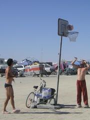 PICT2366 (Brian McConnell) Tags: city man black art basketball rock arte desert nevada playa 2006 burningman blackrockcity burning brc speedo adidas beefcake gerlach campsnowkoan
