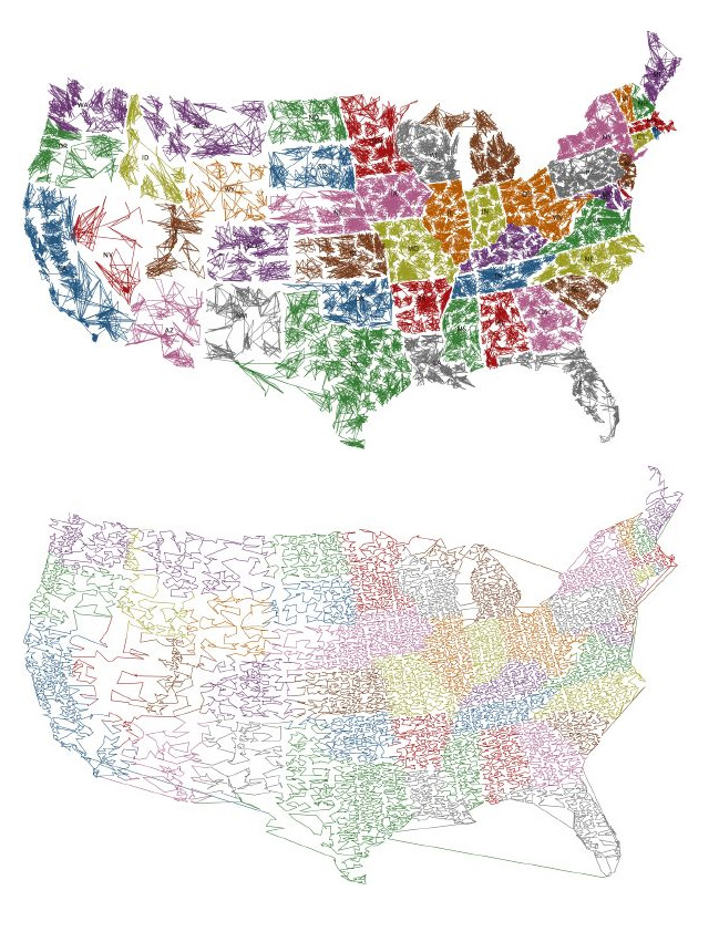 The US ZIPScribble Map vs. the Travelling Presidential Candidate Map