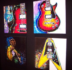 Guitar Paintings at Art Gallery (dsimmons2006) Tags: pictures music art electric painting flying colorful paint gallery bright guitar v fender missouri hendrix rocknroll gibson jimi branson jimihendrix electricguitar 2000views bransonlanding