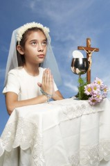 First Communion (Lito Inso) Tags: flowers portrait sky girl st canon photography eos 350d cross pray go first cebu rosary sugbo communion 1740 chalice benedict inso