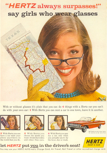 Vintage Ad #112 - Hertz: The Rental Company Recommend By More Bespectacled Females Than Any Other