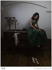 Wilt (SFMONA) Tags: sf red flower green girl fashion lowlight pretty alone sad dress prom isolation 50s concept ideal conceptual dim dresser dying wilt superhearts photofaceoffwinner