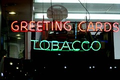 Greetings, Tobacco! (gwen) Tags: pink green 20d sign neon text card alameda greetingcard greeting tobacco