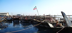 Boats waiting on the Shatt al-Arab, on the Iranian side